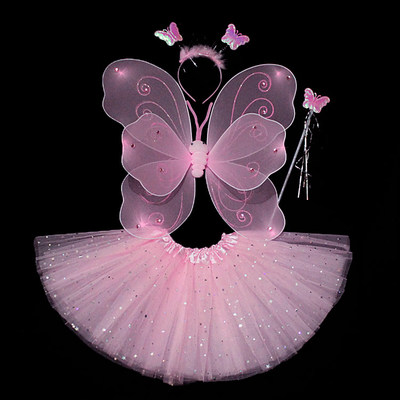 Little girl with angel butterfly wings children's toys magic wand wonderful fairy performance costume props