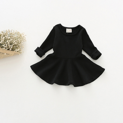 Girls dresses spring summer Korean children's clothing baby long sleeve princess dress cotton backing skirt doll dress