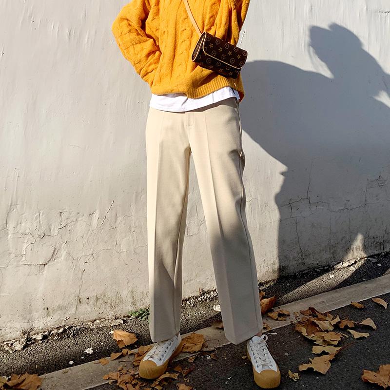 2019秋冬新款毛呢西装裤女直筒宽松垂感烟管裤休闲小脚九分阔腿裤