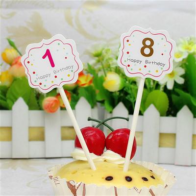生日数字蛋糕插牌 庆生派对蛋糕数字蛋糕纸牌 烘焙生日装饰