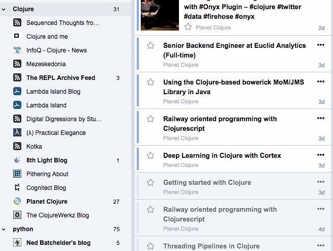 关于 Clojure 的 RSS 收集