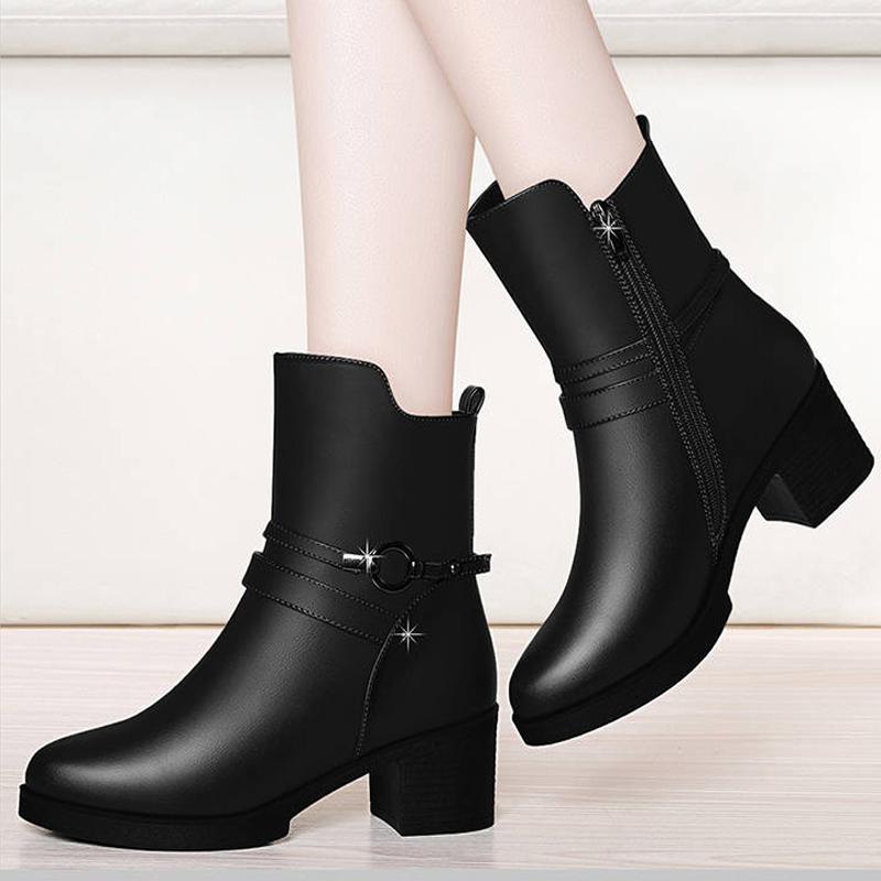 短靴女低跟粗跟皮靴妈妈鞋女鞋_网红优惠券