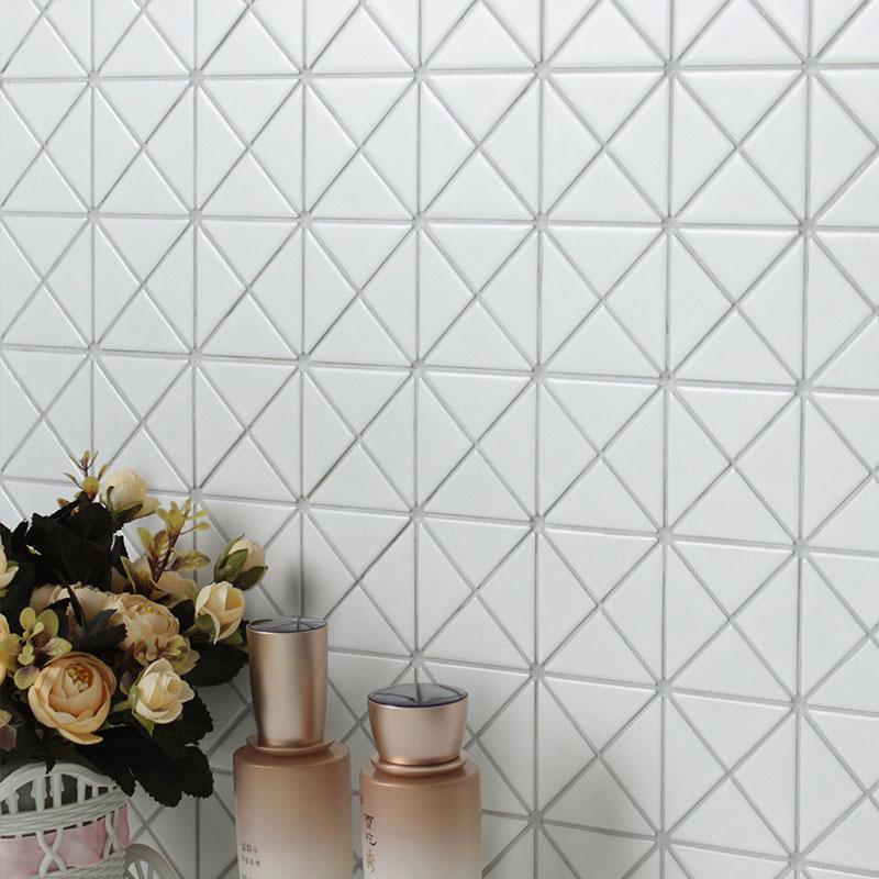 USD 21.54] Nordic all-ceramic small white brick triangular pattern ...