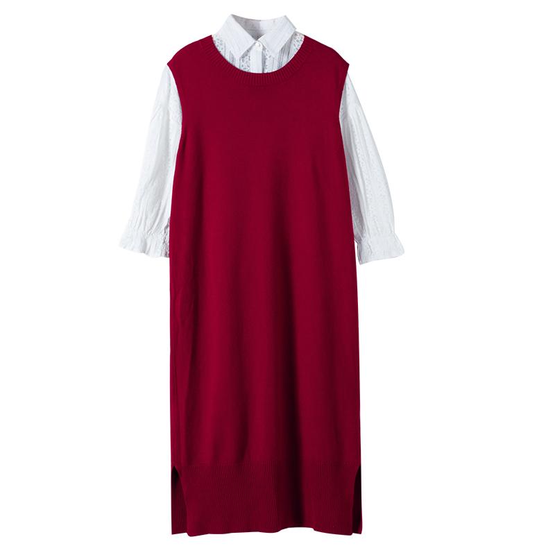 毛衣衬衫裙2017新款秋装韩版件套毛衣针织套装裙连衣裙两背心女潮