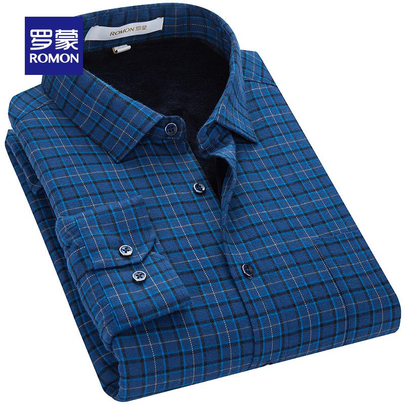 罗蒙秋季标准衬衣男士衬衫加厚青年韩版长袖加绒上班商务1DCDC73905
