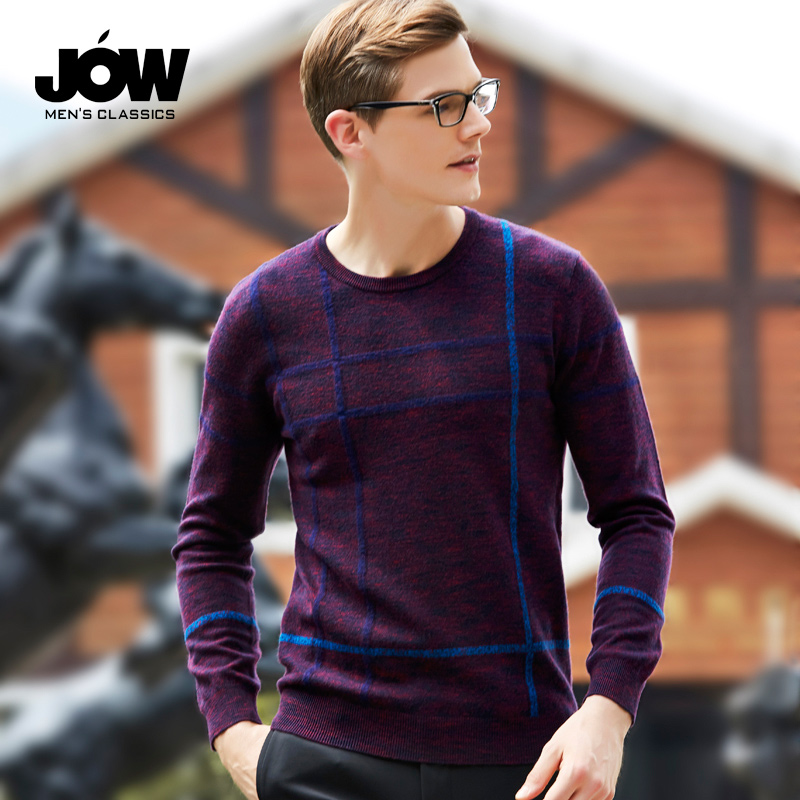 JOW Jowo men s round neck pure sweater pullover jacquard sweater business  wool autumn and winter primer ace6bd886509