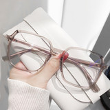 Anti-blue light radiation anti-fatigue myopia glasses female Korean version of the tide goggles big face change pigment color transparent eye frame