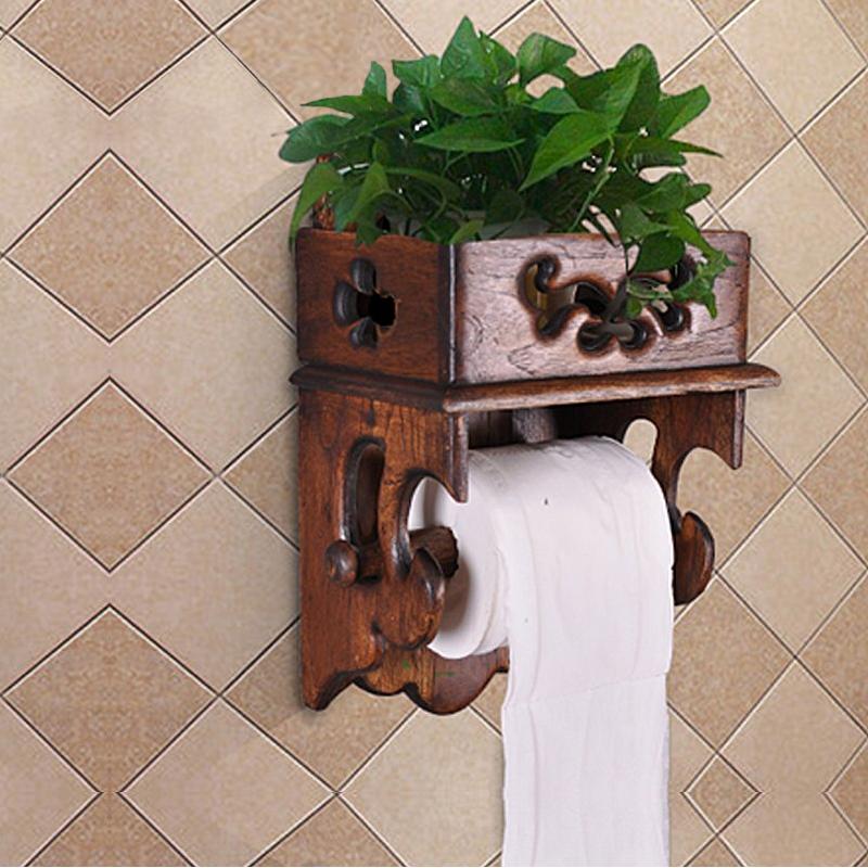 Таиланд дерево бумажные полотенца полка стеллажи ретро ванная комната ткань туалет рулон полка мобильный телефон туалет бумага полка
