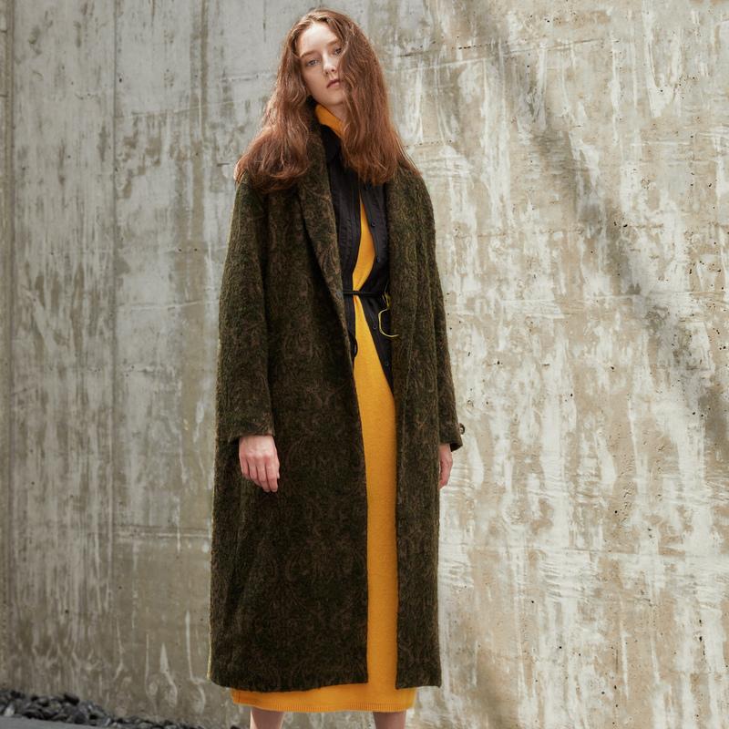 设计师系列双色全外套毛呢提花羊毛中长款半圆大衣女2019冬季新款
