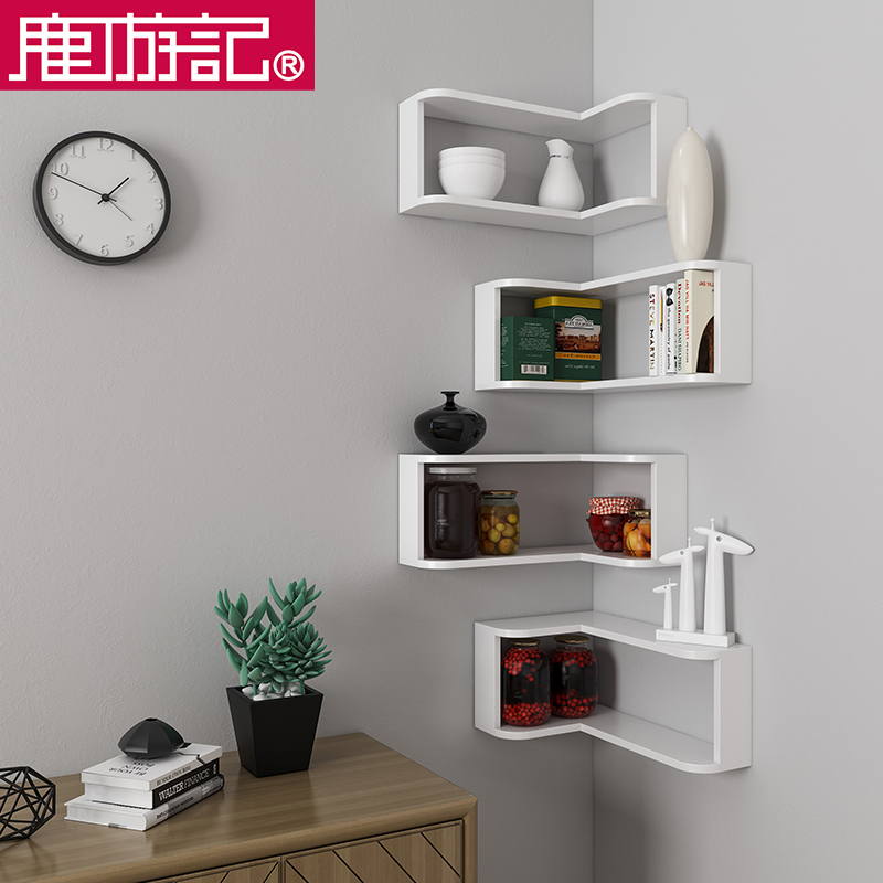 Corner wall rack storage rack bedroom living room corner wall wall hanging  shelf corner bookshelf decorative shelf