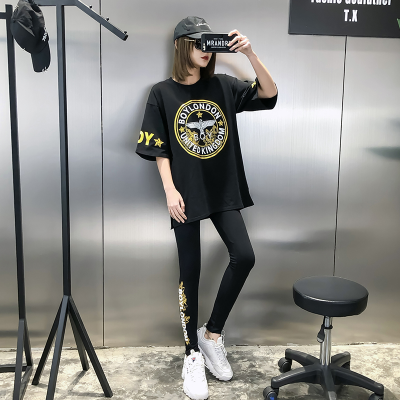 European grand prix 2019 Early Spring New Style Was Thin Loose Bronze Printed Letter Eagle Short Sleeve T-shirt Leggings Set