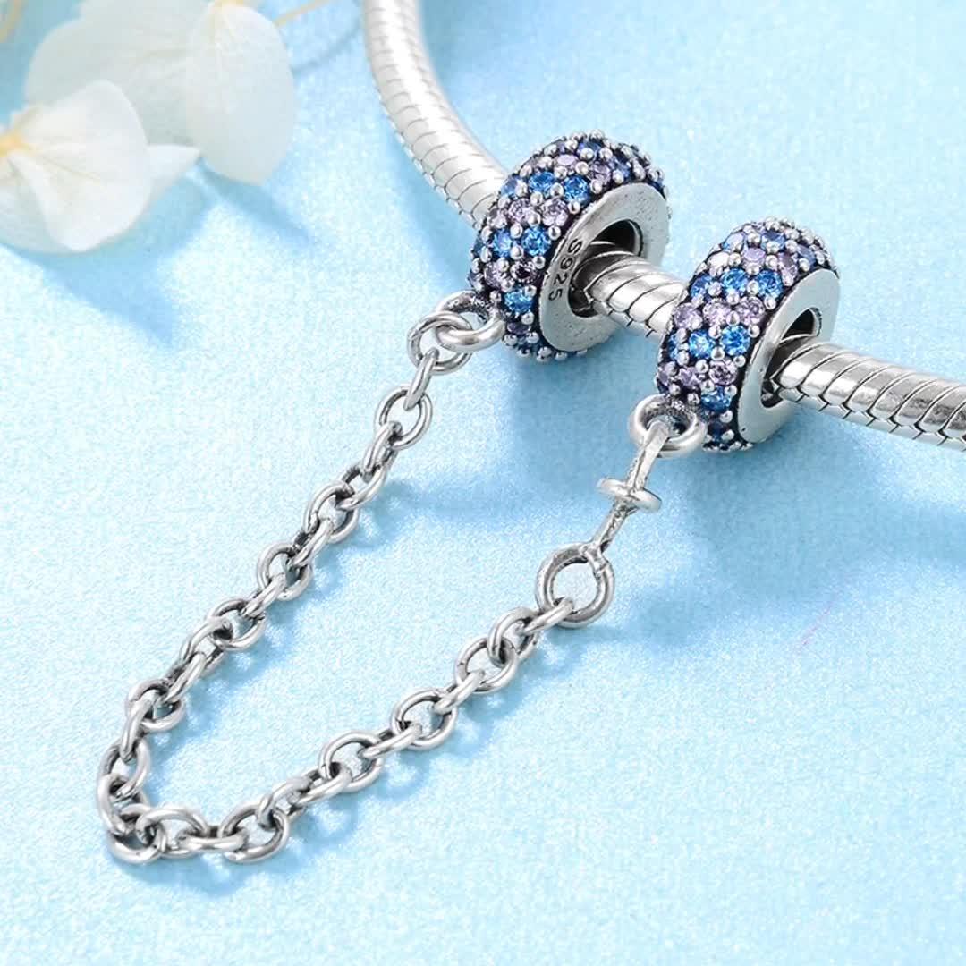 Verdadeiro 925 sterling silver Colorido corrente de segurança Encantos jóias para mulheres pulseira Rosa de Cristal de zircão jóias fazendo atacado