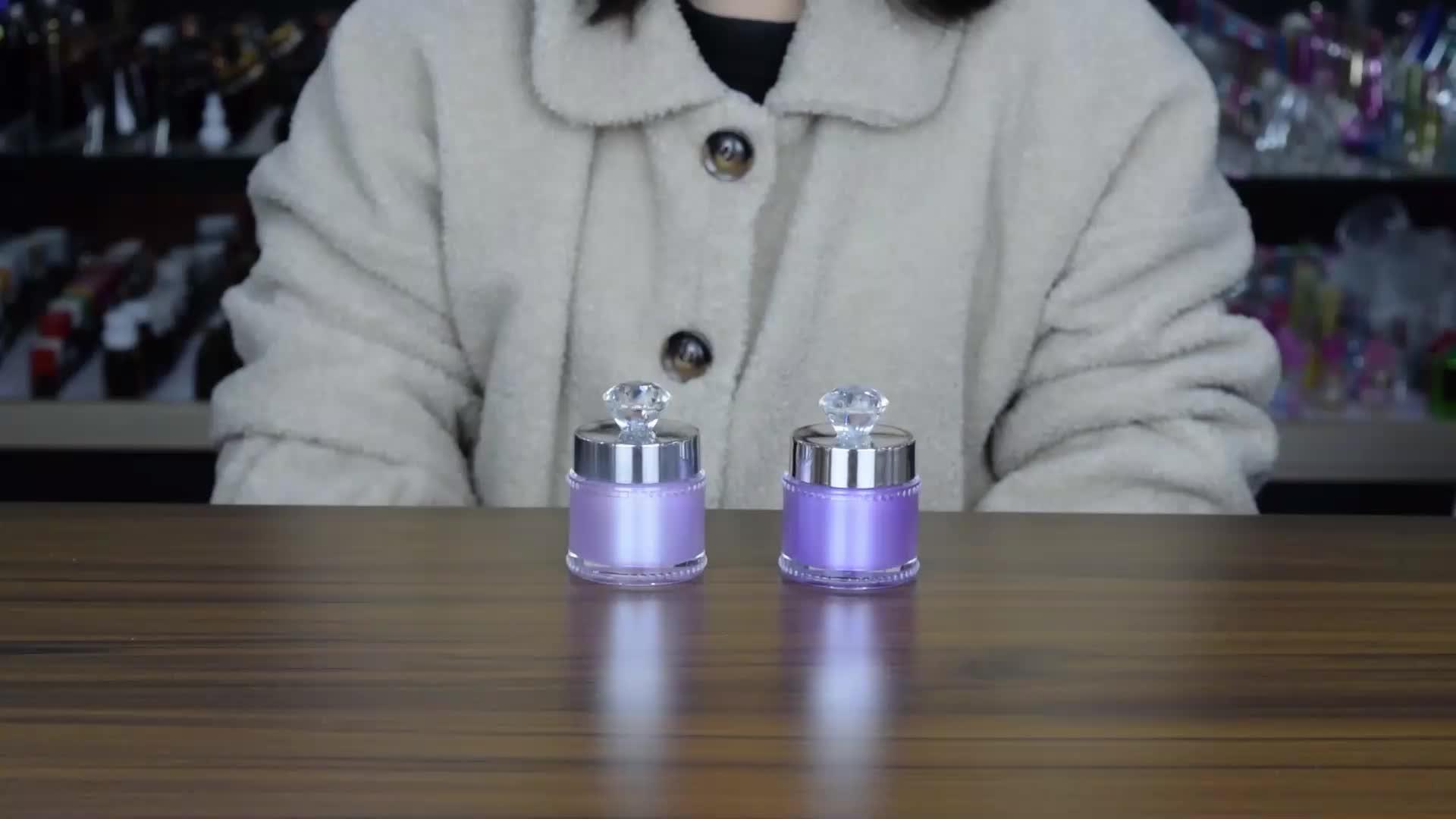Cosmetische verpakkingen 5g 15g 30g 50g goud glanzend luxe cosmetische jar cream container acryl jar met clear crystal cap