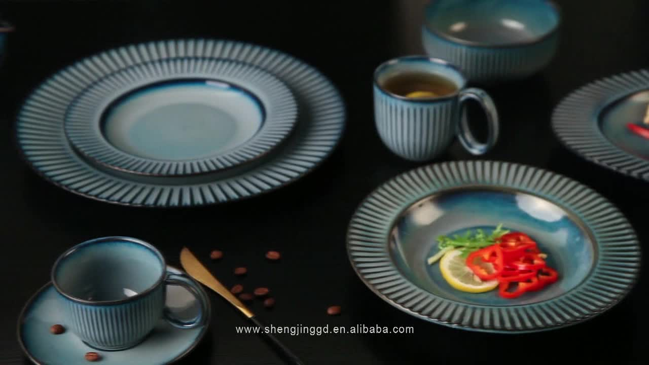 Chaozhou Dinner Set Porcelain Ceramic Light Grey Round Plate