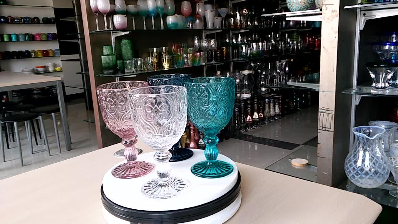 צבע ורוד אדום זכוכית גביע יין כוס משקה