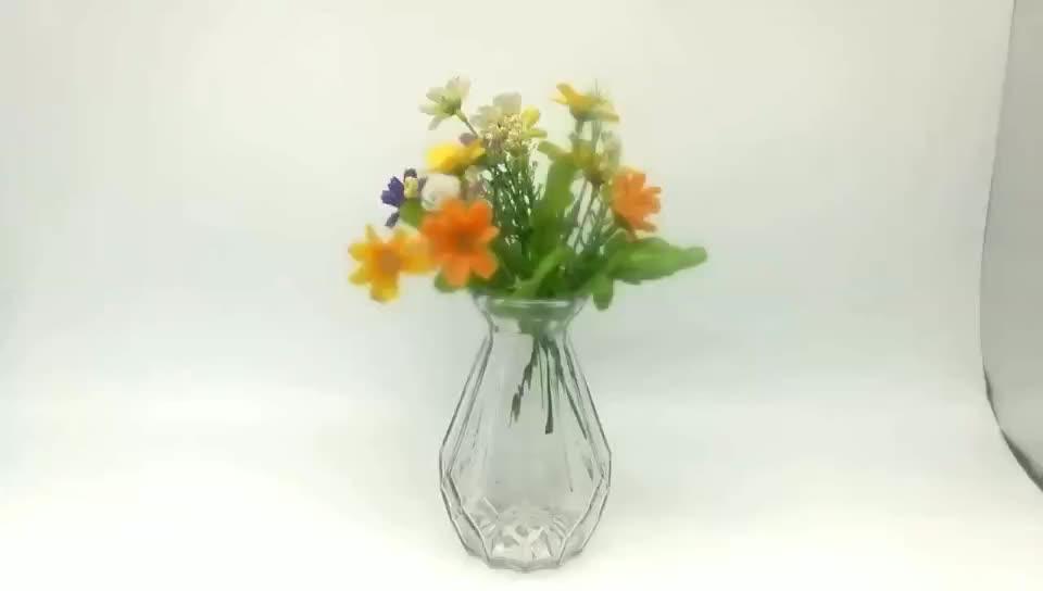 Best selling  Diamond - Shaped Transparent Vase with Multiple Edges Glass Vase