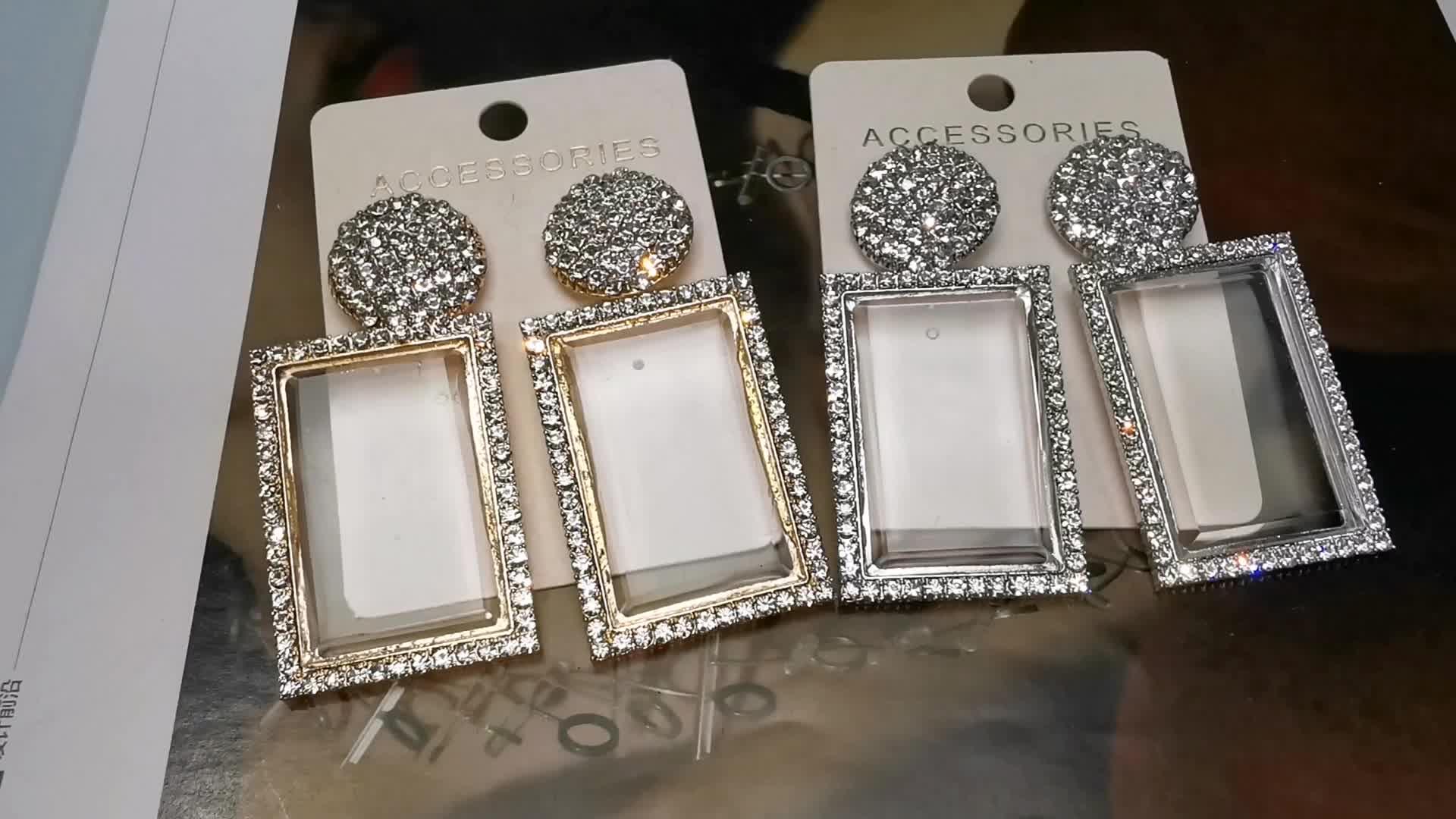 HANSIDON אופנה זכוכית להתנדנד עגילים לנשים מבריק ריינסטון כיכר תליון טיפת אוזן תכשיטי ילדה מתנות