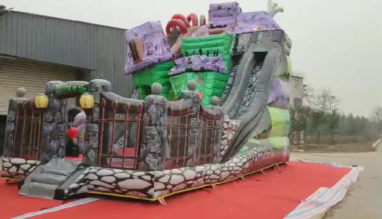 Commercial Outdoor Kids Halloween Theme Spook Haunted House Inflatable slide for sale