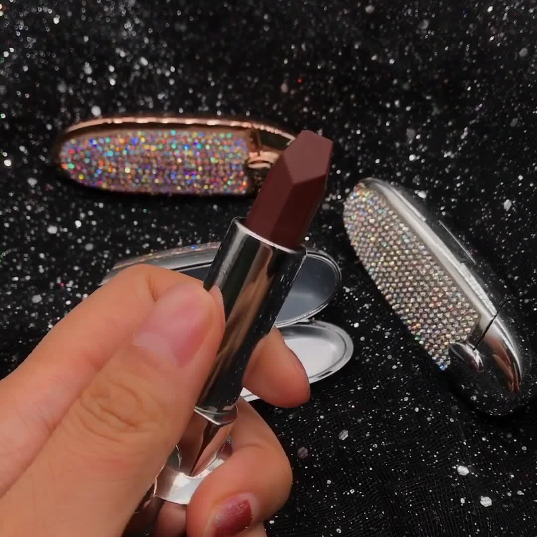 새로운 고급 완전 쉬머 다이아몬드 립스틱 미러 방수 매트 립 스틱