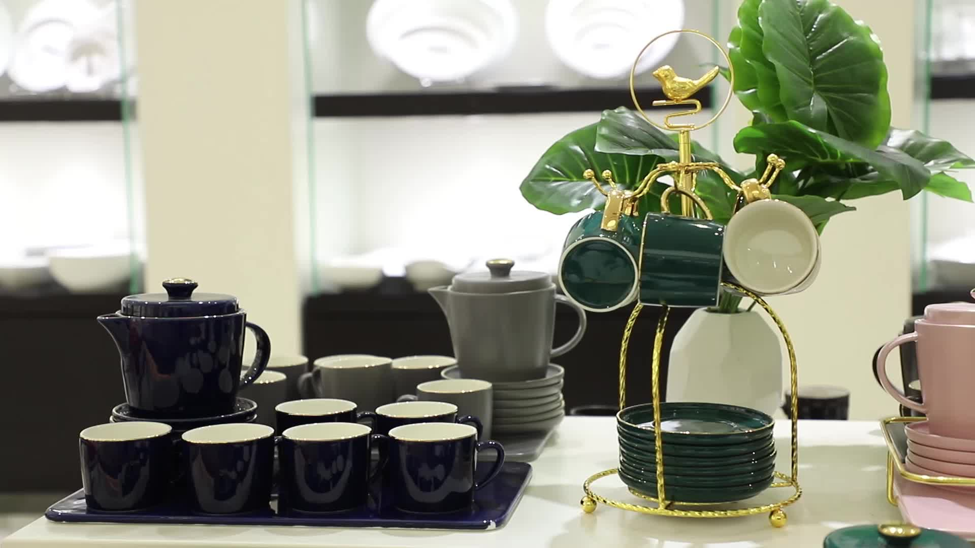 factory direct ceramic porcelain green color gift box cafe arabic coffee and tea set