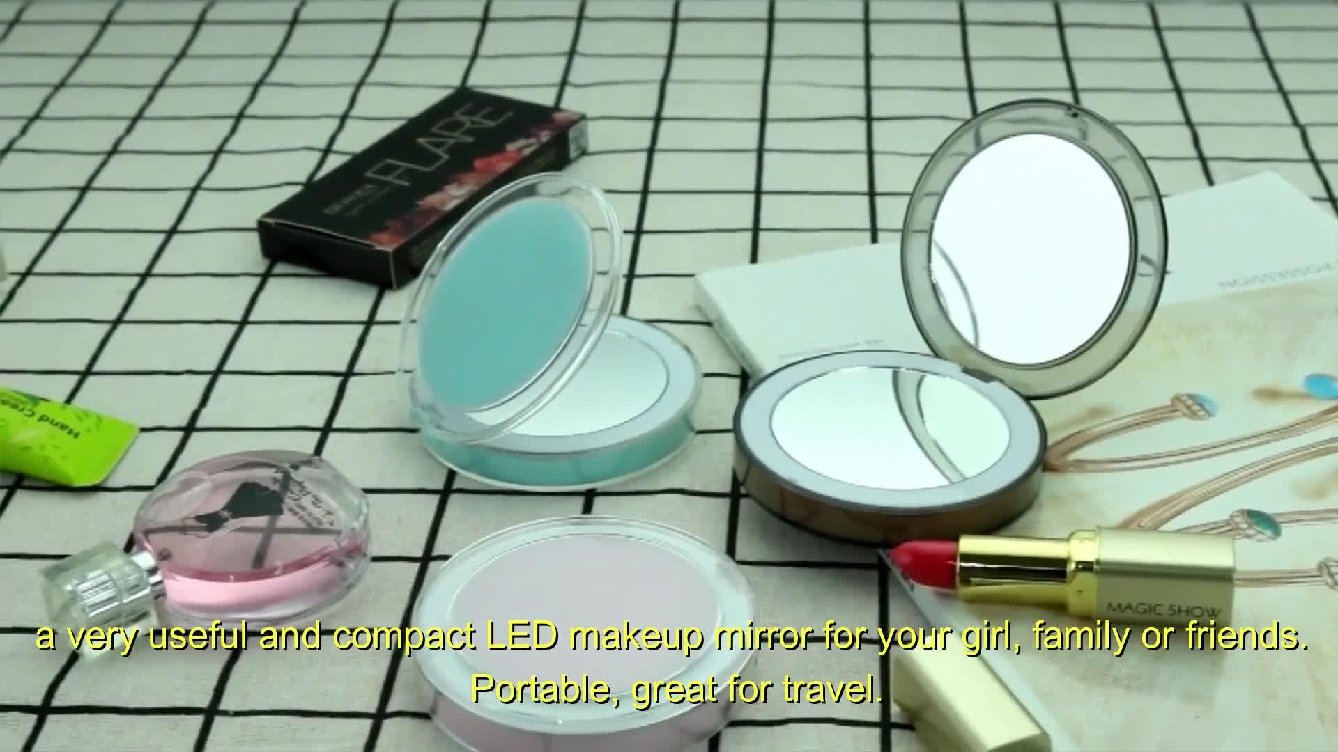 Double face Led miroir pliant Portable lumière poche maquillage LED miroir de maquillage pour dame Led voyage cosmétique miroir