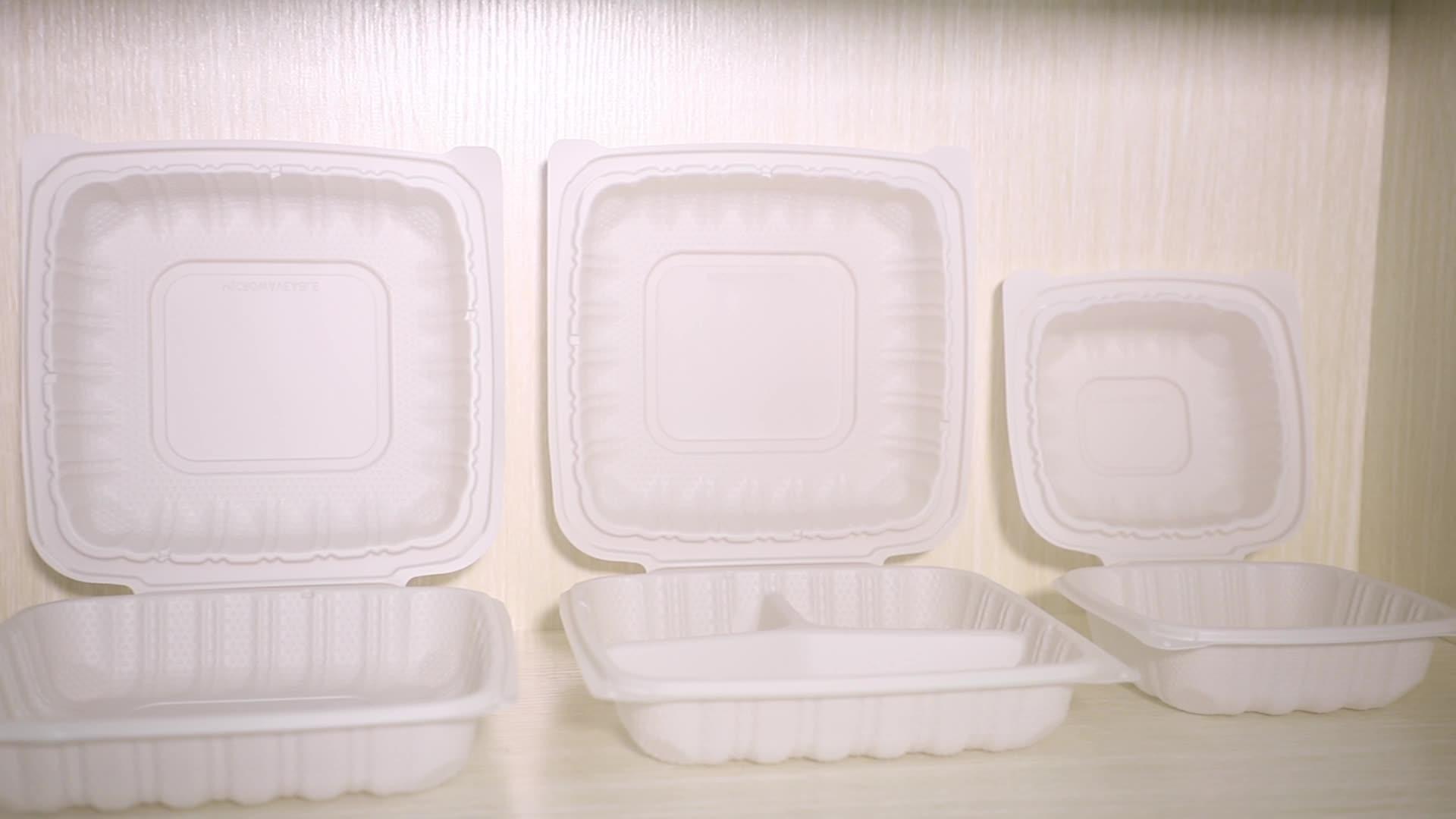 8-इंच 3-डिब्बे सफेद hinged डिस्पोजेबल प्लास्टिक stackable दोपहर के भोजन के बॉक्स/takeaway खाद्य कंटेनर