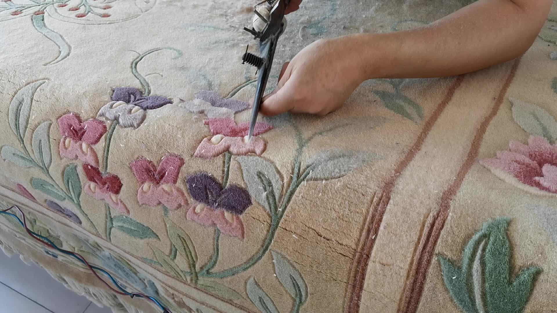 Anudada a mano chino aubusson lana alfombras de lana de oveja alfombras hechas a mano