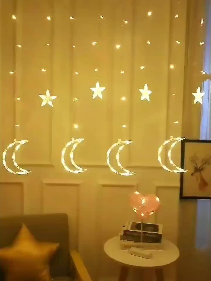 Ramadan Twinkle 138 LED Moon Star Curtain String Window CurtainとLighting 8 Flashing Modes DecorationためWedding Party