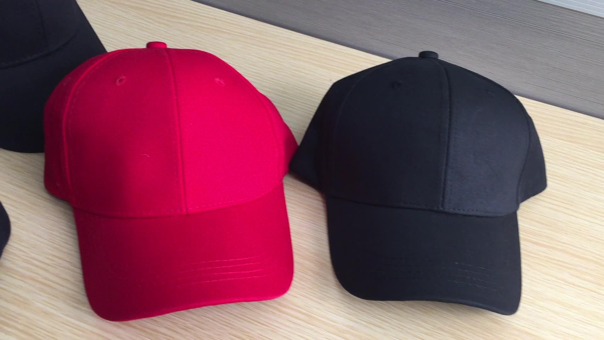Wholesale 100% cotton 6 panel structured adult blank black baseball hat