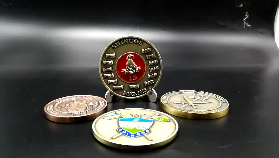 Die casting customize 3D antique metal souvenir medallion coin with enamel