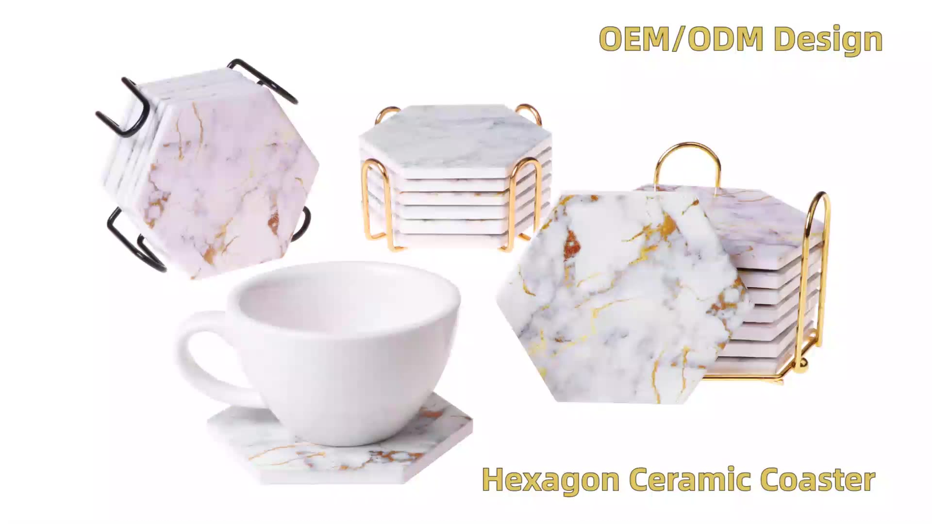 OEM/ODM kitchen mats&pads heat resistant ceramic coasters marble design hexagon coaster with cork back