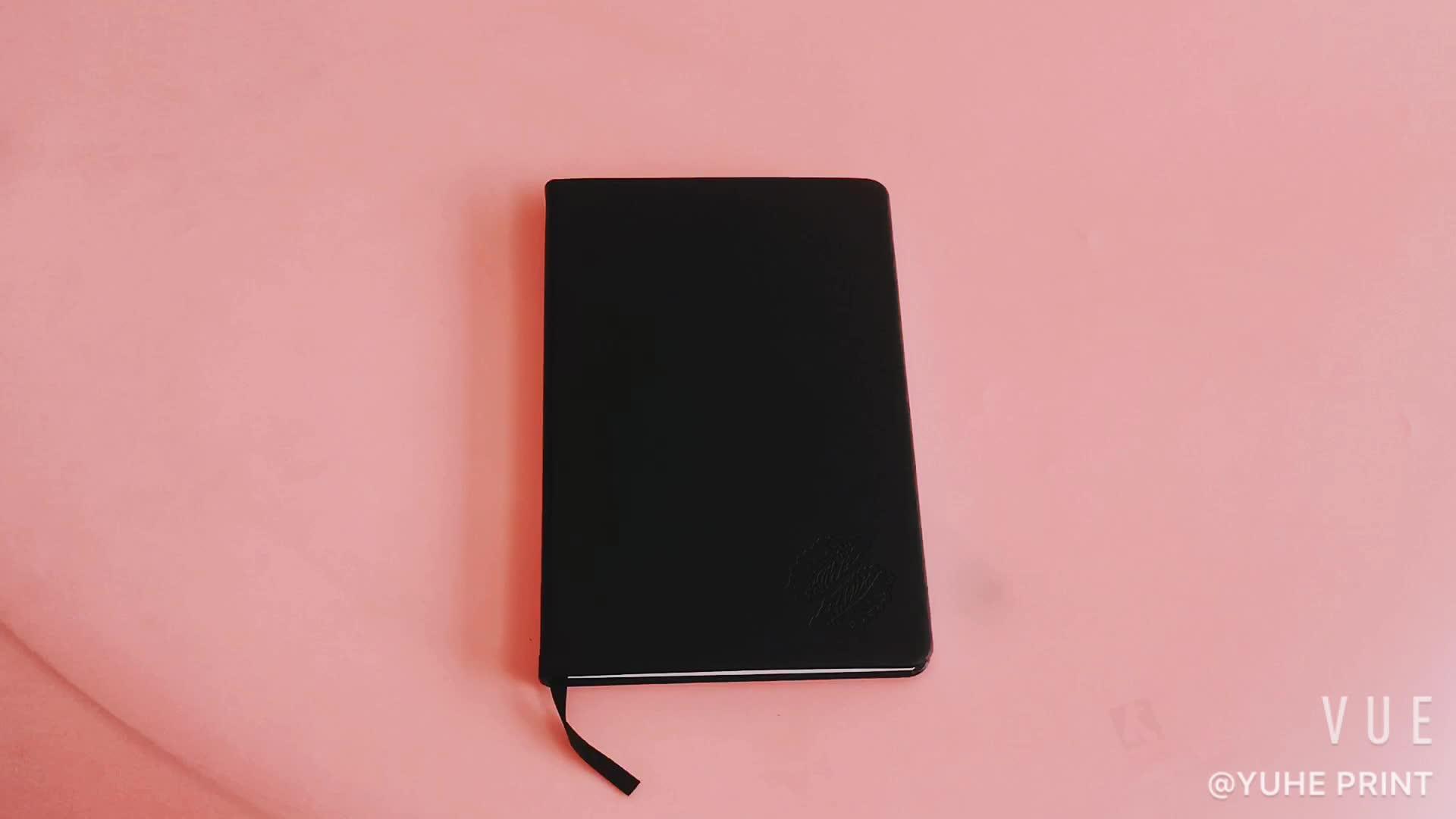 Nach 2019 Schwarz Hardcover Günstige Feder Leder Notebook in Gute Qualität Druck