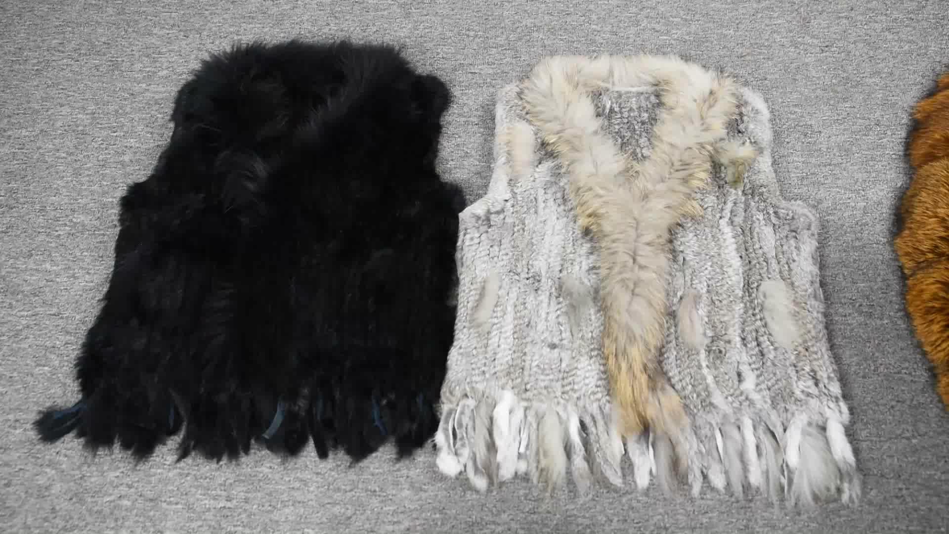 Neue Kaninchen Echtpelzweste Waschbärpelzkragen Frauen Wintermode Gilet Weste Damen Mantel
