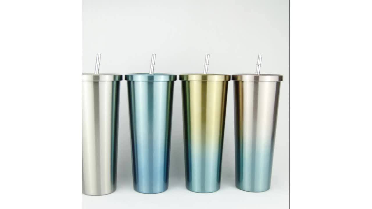 2019  wholesale large capacity colorful car stainless steel coffee mugs custom logo with straw and lid