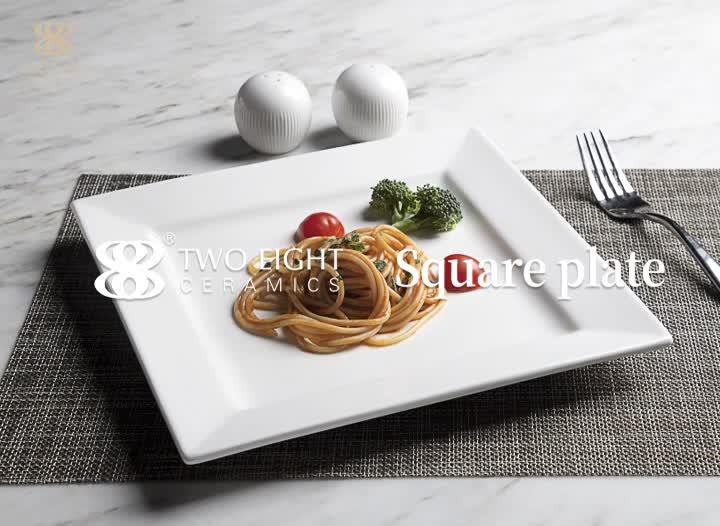 New Product Ideas 2019 Factory Wholesale Restaurant Crockery Dish, Manufacturer White hotel Porcelain Square Plate%