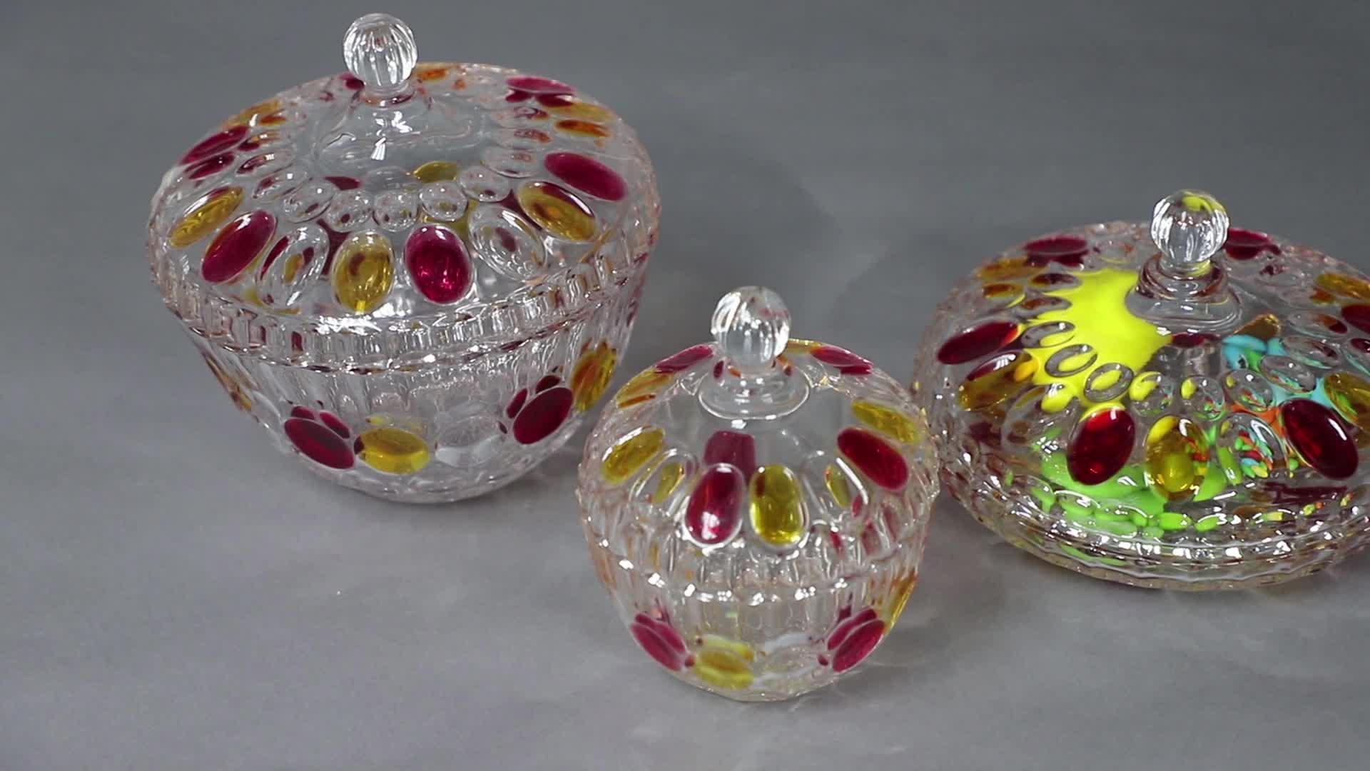 Elegante ronda de almacenamiento de alimentos de caramelo de vidrio con tapa para aperitivos nueces GB1837XTY-8
