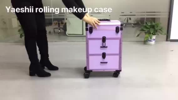 Yaehsii New Makeup Professional Custom Aluminum With Drawer Trolley Cosmetic Case