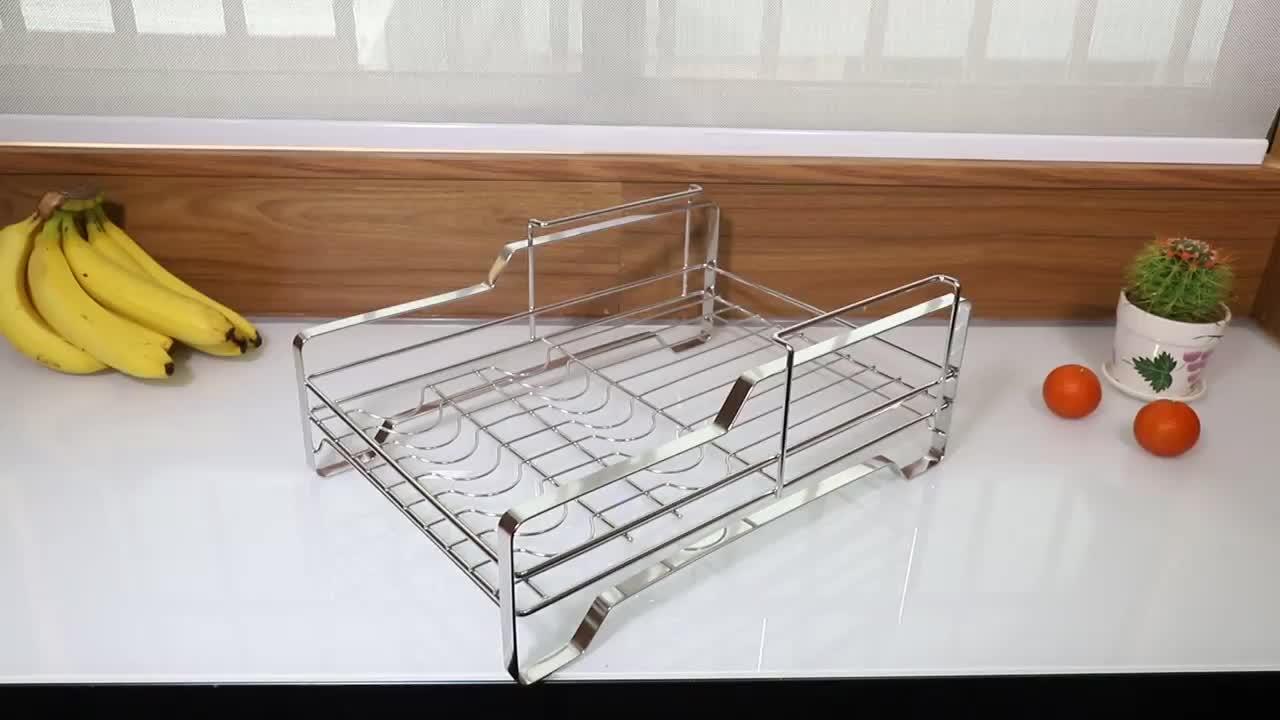 Platzsparender 2-stufiger Geschirrkorb aus Edelstahl und Abtropffläche