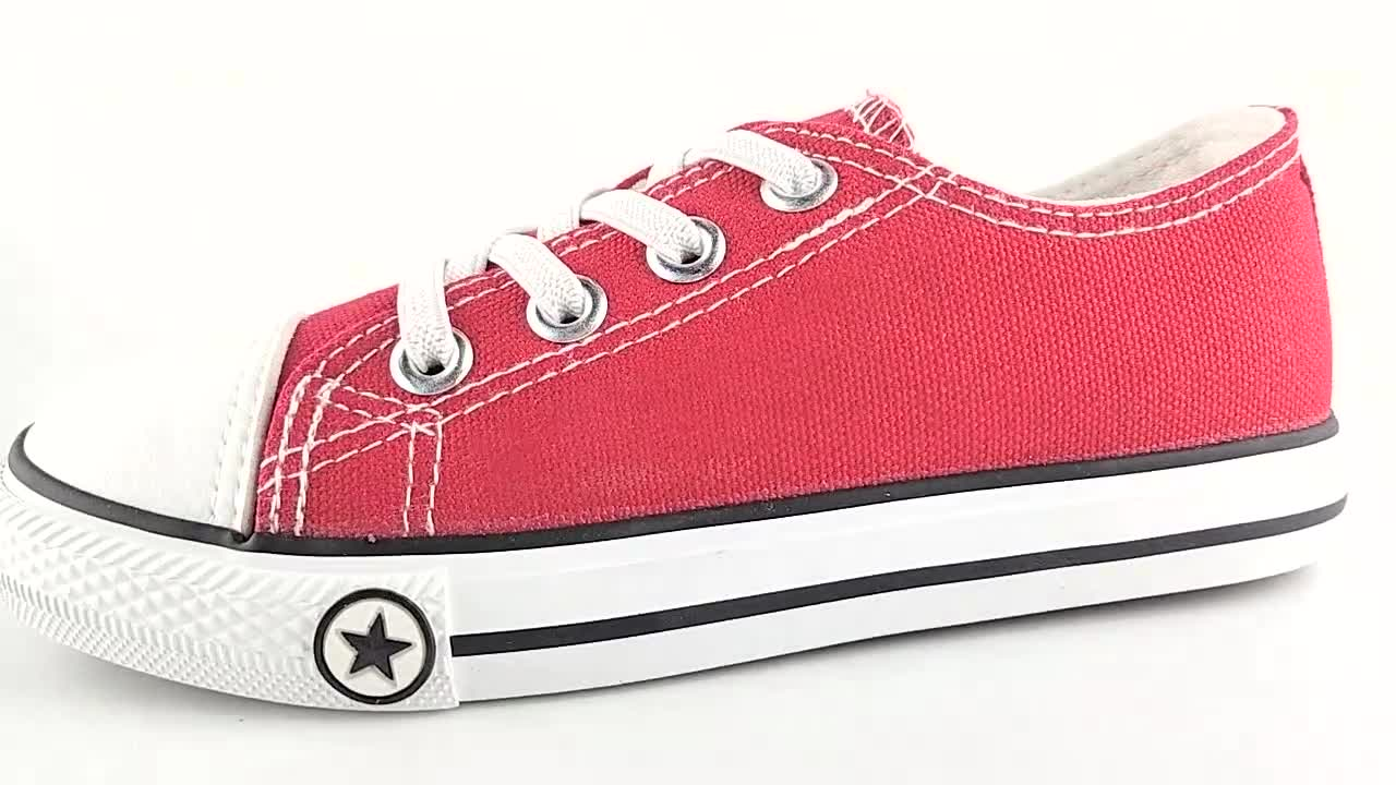 High quality rubber sole plain black white color school children canvas shoes for kids in stock