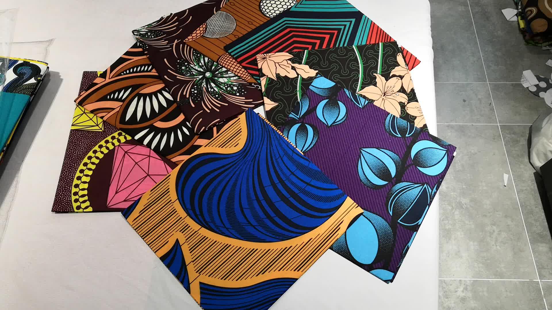 Tissu de cire véritable de haute qualité 100% polyester prix de gros tissu africain imprimé à la cire pour vêtement