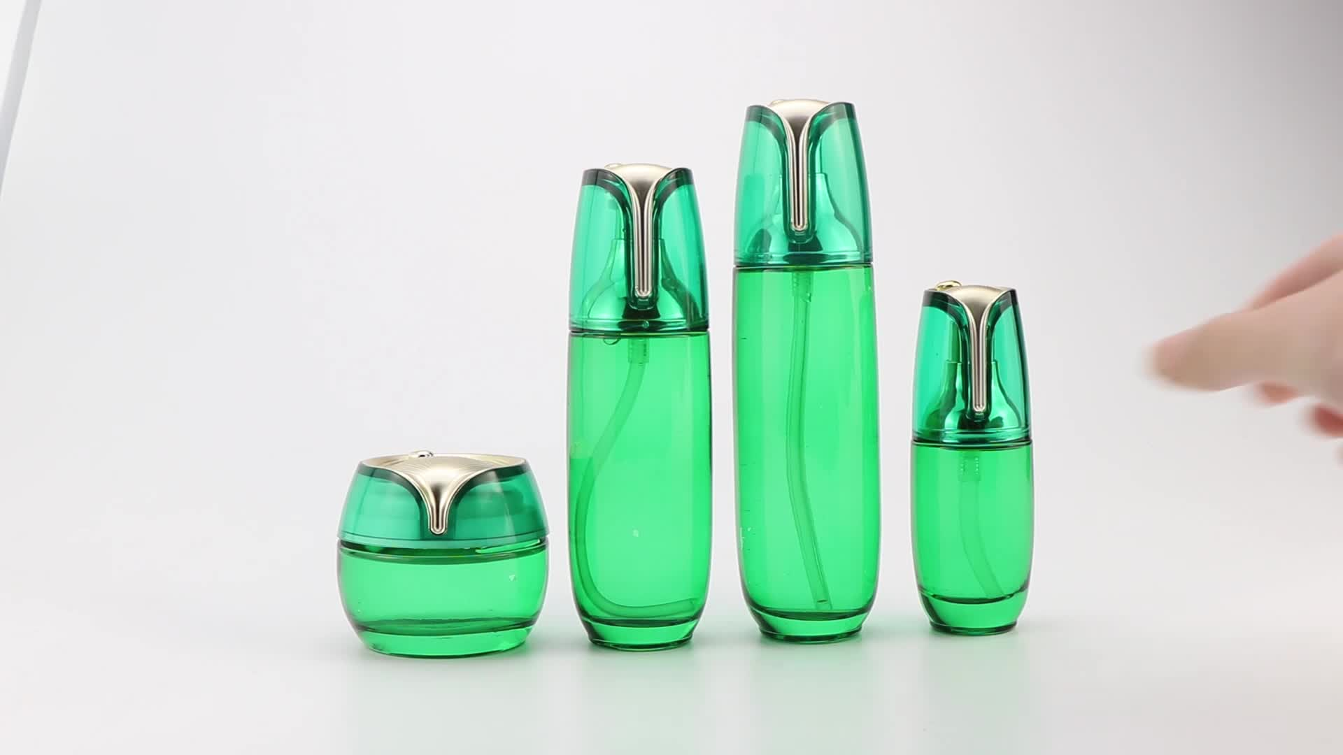 factory price biodegradable skin care packaging green glass cosmetic bottle luxury serum packaging