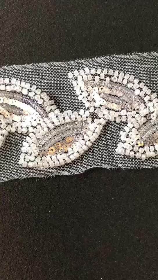 Gaya Baru 4.5 Cm Lebar Manik-manik Bunga & Payet Bordir Jaring Renda Untuk Kostum