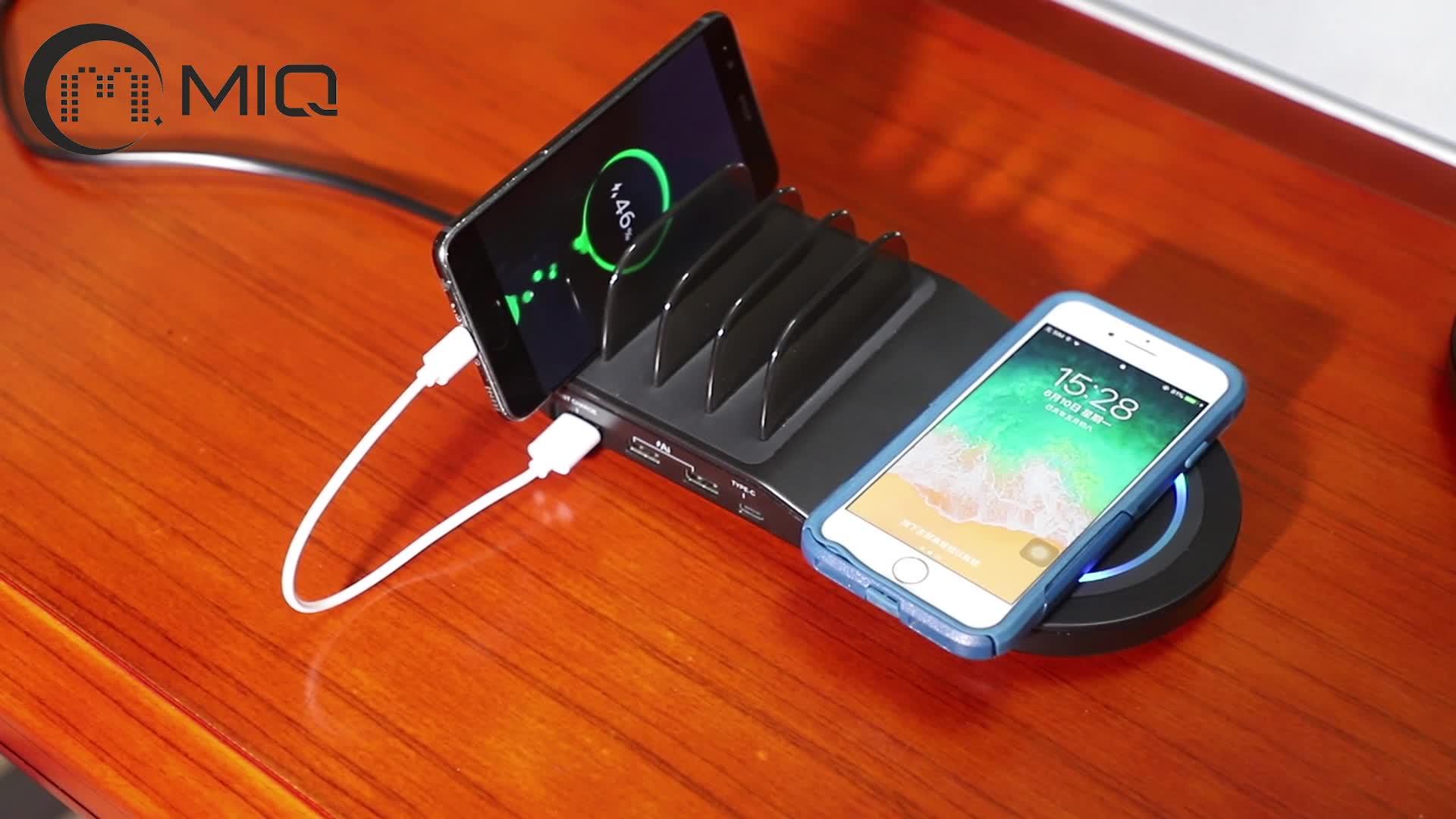 MIQ 4 USB şarj aleti, Qi kablosuz hızlı Pad şarj İstasyonu Mat 10 W Samsung telefonu için kablosuz şarj istasyonu