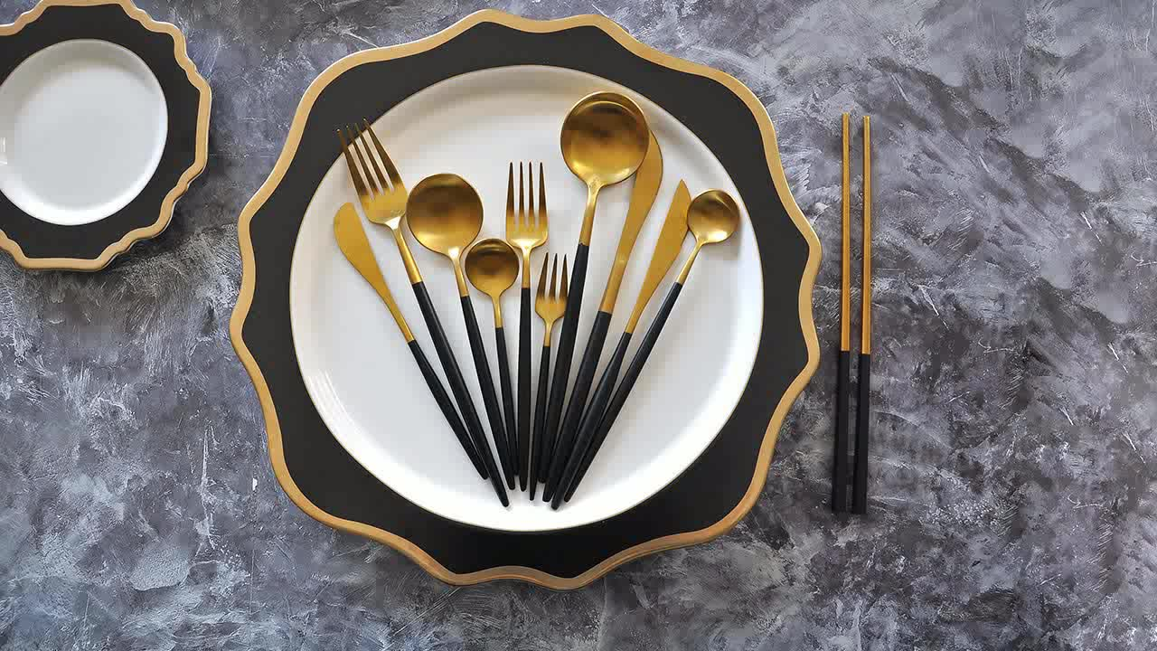 Stainless Steel Cutlery Gold Luxury Portable Travel Flatware Set