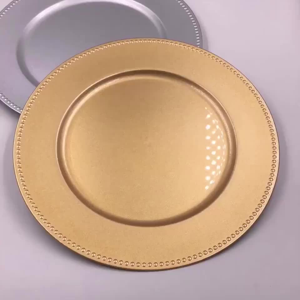 "Wholesale dinner 13"" gold plastic beaded charger plate"