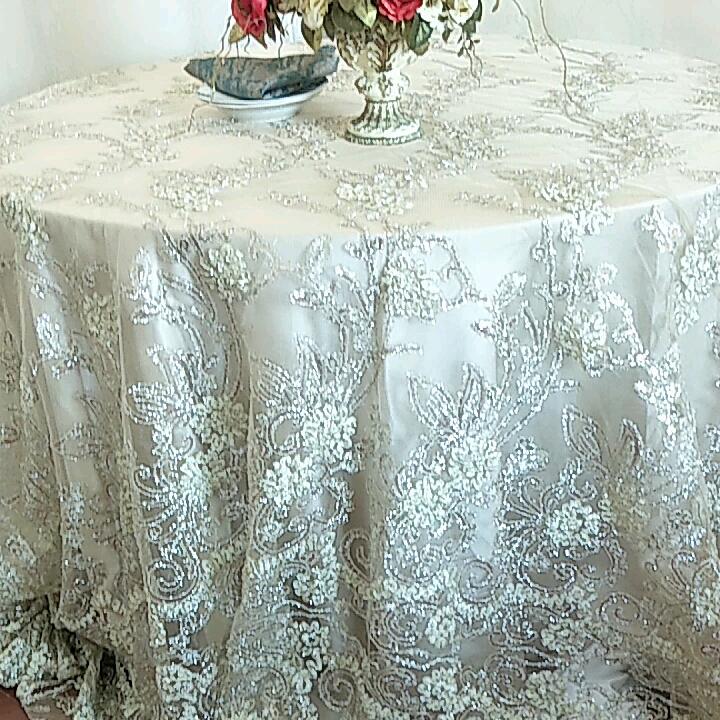 """132 """"yuvarlak şampanya kord afrika dantel kumaş masa örtüsü yerleşimi parlak pullu hala MESH düğün için"""