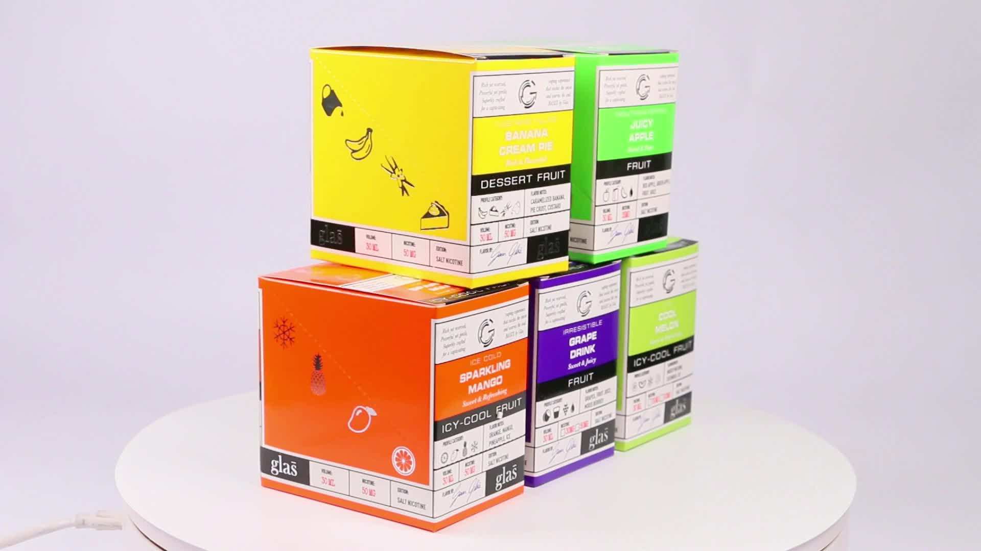Yellow Color Oem 30Ml 60Ml E Liquid Paper Box For Dropper Bottle