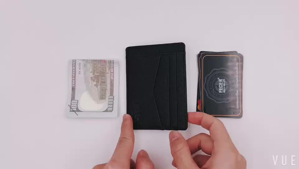 RFID blocking compact front back pocket design mini card wallet custom slim cardholder genuine leather credit card holder
