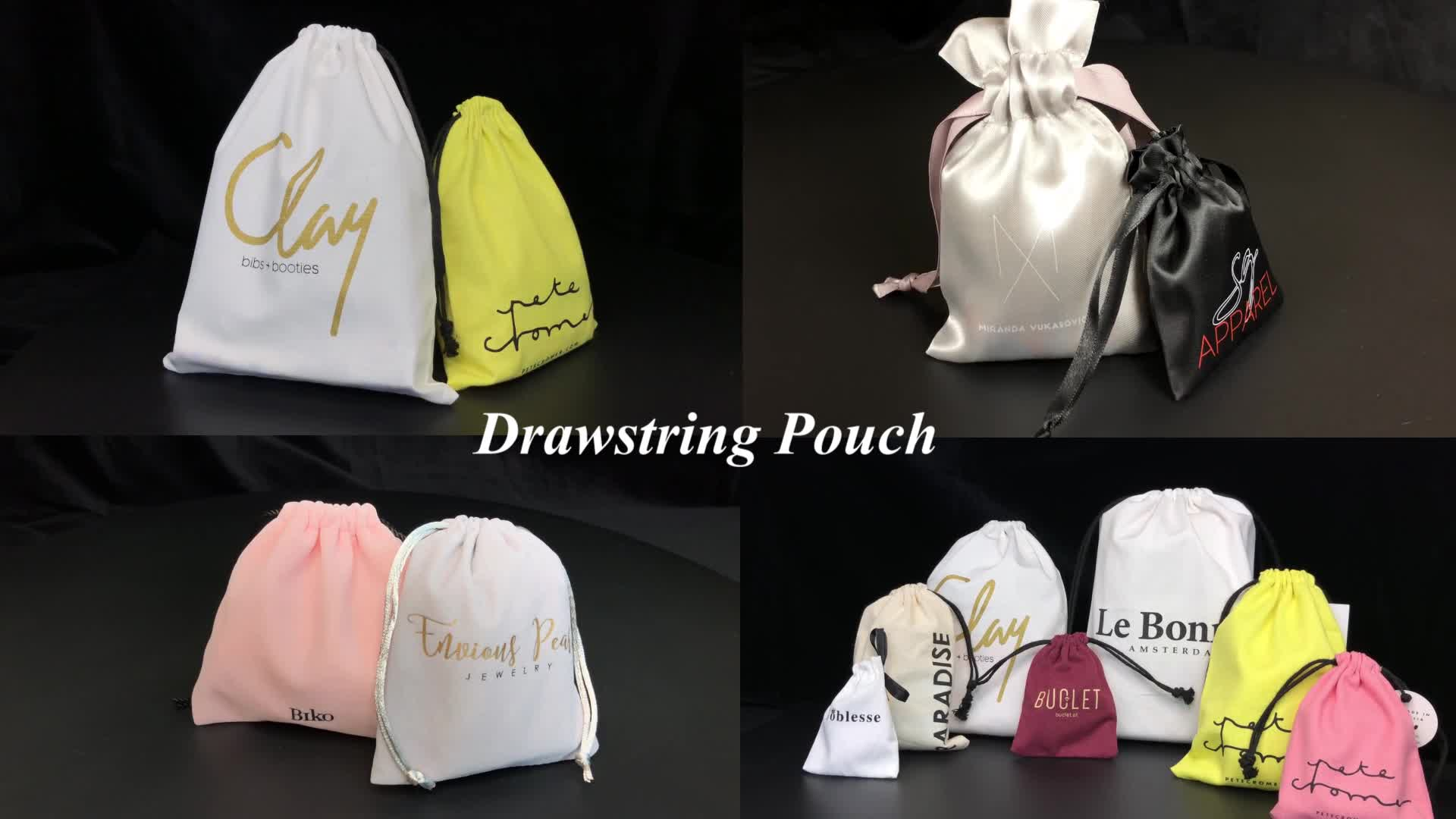 Luxury Custom Sunglasses Drawstring Jewelry Pouch Velvet Bag Pouch with Logo