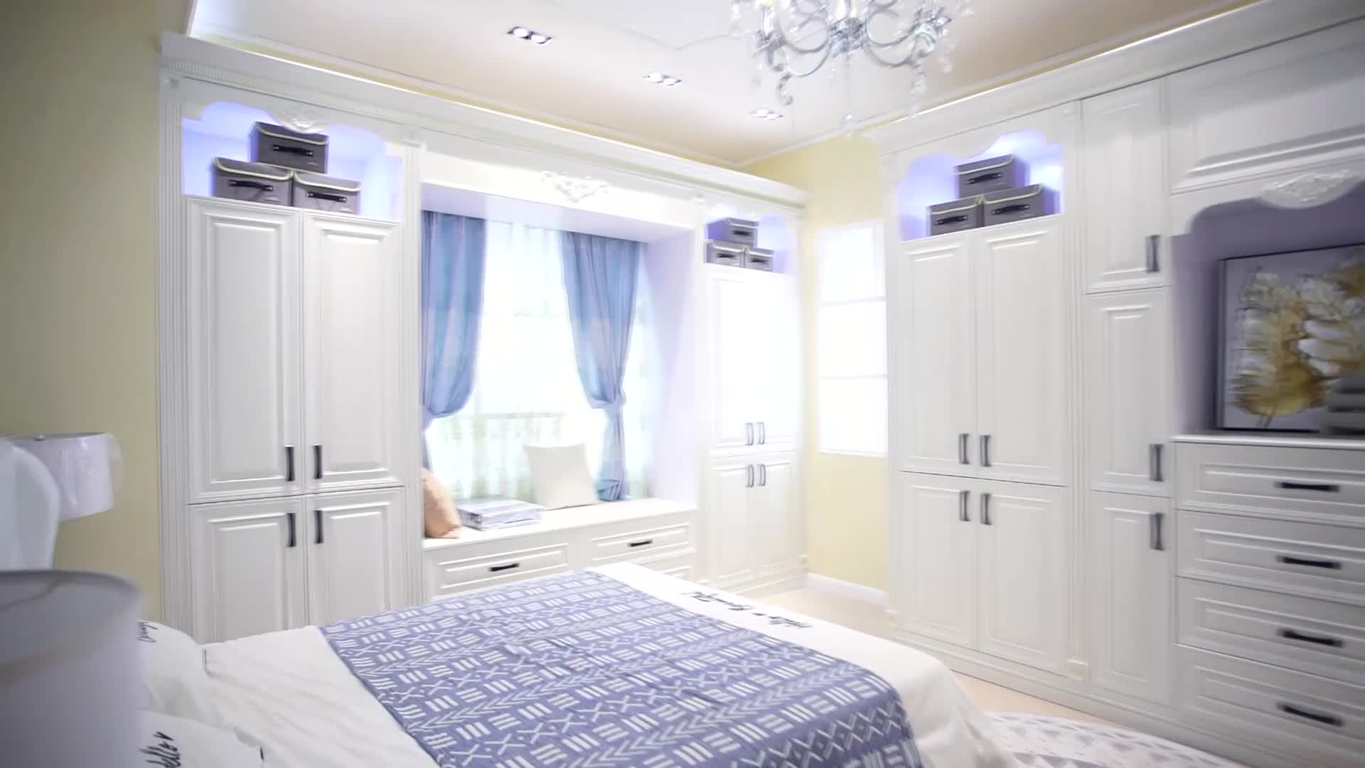Home furniture modern style shutter door bedroom closet wardrobe